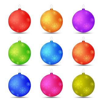 Ensemble de flocons de neige de boules de jouets de noël de différentes couleurs