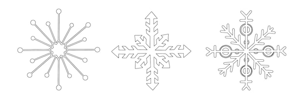 Ensemble de flocons de neige de différentes formes doodle croquis linéaire