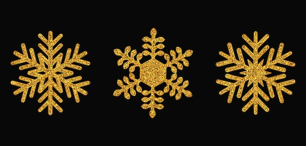 Ensemble de flocons de neige dorés noël