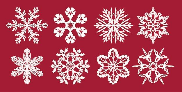 Ensemble de flocons de neige, modèles pour la découpe laser.