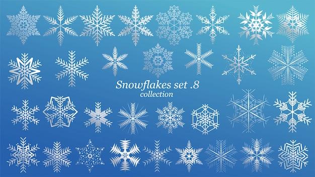 Ensemble de flocons de neige de vecteur
