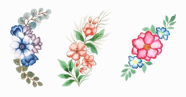 Ensemble floral aquarelle à la main