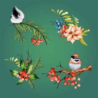 Ensemble floral vintage décoration printanière ou estivale avec branche sèche de pin, baies rouges, sorbier, petit oiseau rouge, oiseau gris. illustration vectorielle colorée. isoler.