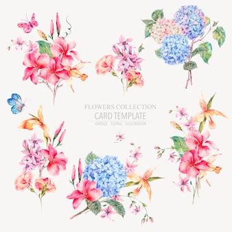 Ensemble floral vintage de vecteur d'hortensias, d'orchidées