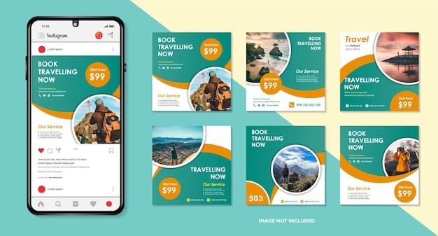 Ensemble de flyer ou affiche de bannière web de modèle de publication de médias sociaux de vente de voyages pour agence de voyage