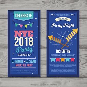 Ensemble de flyers de fête du nouvel an