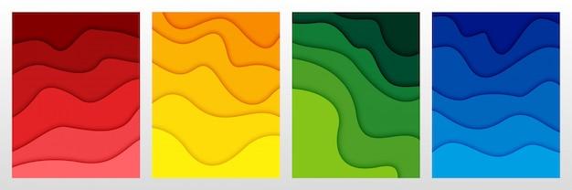 Ensemble de fond abstrait 3d et formes découpées en papier