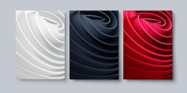 Ensemble de fond abstrait avec des formes de tissu roulé.