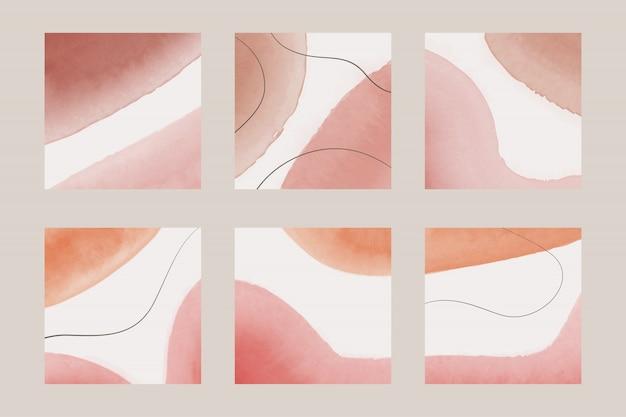 Ensemble de fond abstrait tons pastel aquarelle