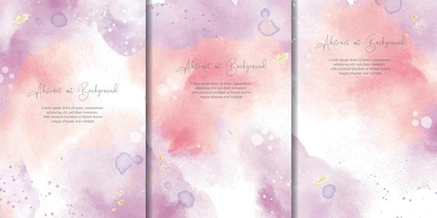 Ensemble de fond aquarelle abstrait avec des couleurs pastel et un design de peinture d'art fluide coloré