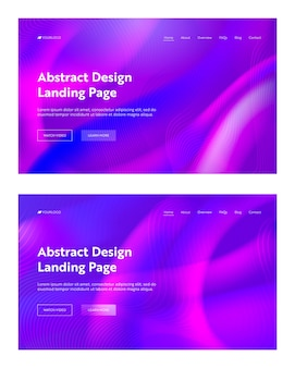 Ensemble de fond d'atterrissage en forme de vague abstraite violet violet. conception de modèle de dégradé de mouvement numérique futuriste. fond d'écran liquide pour la page web du site web. illustration vectorielle de dessin animé plat