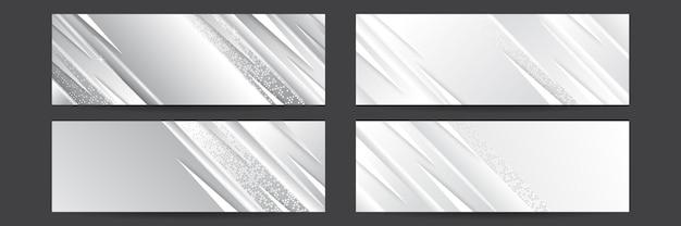 Ensemble de fond de bannière blanche avec des formes géométriques. conception de bannière technologique avec des flèches blanches et grises. fond de vecteur géométrique abstrait