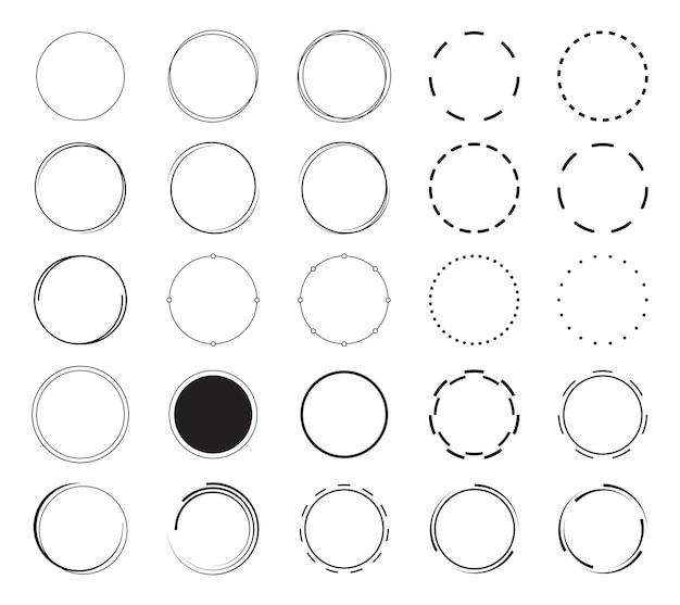 Ensemble de fond de bordure ronde. les cercles encadrent la conception des éléments de décoration.