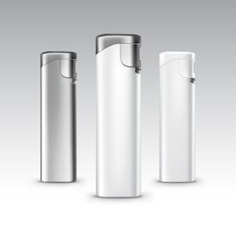 Ensemble de fond de briquets en métal en plastique blanc