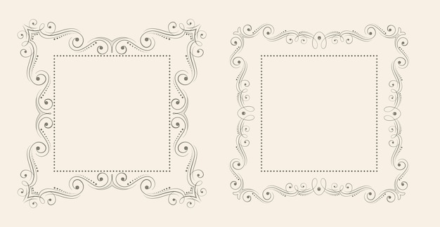 Ensemble de fond de cadre vintage décoratif de style floral