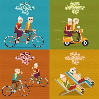 Ensemble de fond carré heureux grands-parents
