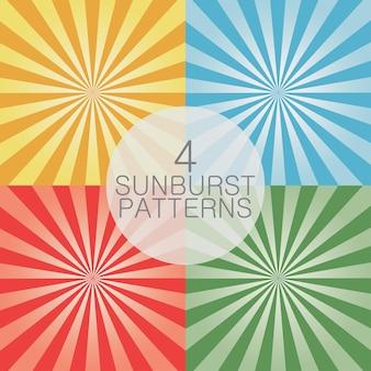 Ensemble de fond comique. motif rayon de soleil. illustration vectorielle.