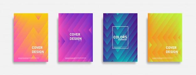 Ensemble de fond de conception de ligne colorée abstraite