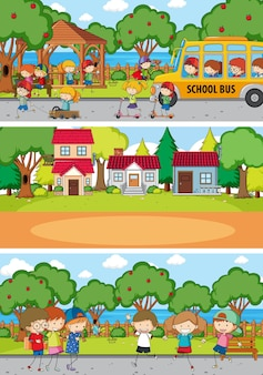 Ensemble de fond de différentes scènes horizontales avec personnage de dessin animé pour enfants doodle