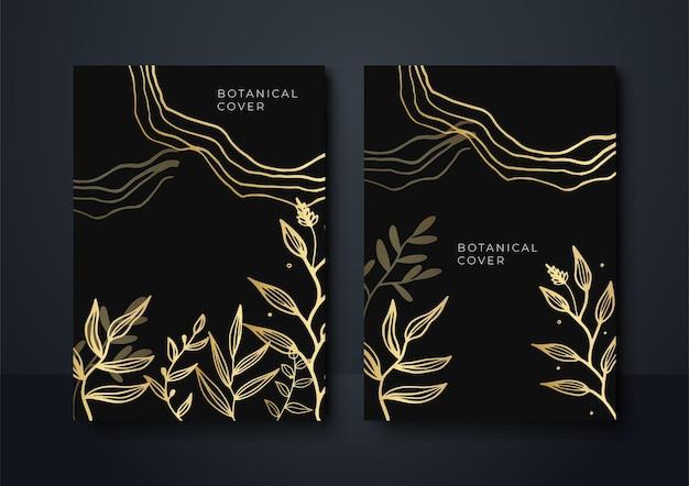 Ensemble de fond floral abstrait noir et or moderne. abstrait luxueux or noir. vecteur de modèle de bannière sombre moderne avec des motifs de forme florale. conception graphique numérique futuriste
