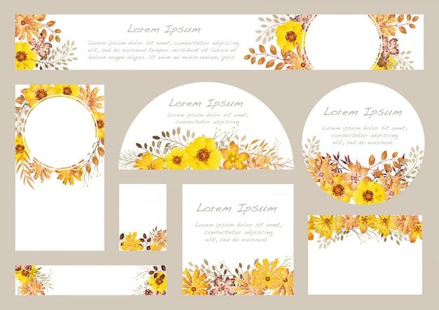 Ensemble de fond floral aquarelle avec espace de texte, illustration.