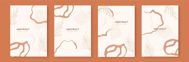Ensemble de fond floral. arrière-plans créatifs abstraits dans un style tendance minimal avec espace de copie pour les modèles de conception de carte de voeux ou de présentation de couverture. modèle de médias sociaux de couleur terre