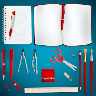 Ensemble de fond de fournitures scolaires colorées. fichier inclus