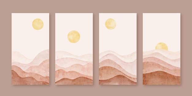 Ensemble de fond d'histoires instagram de forme de paysage de montagne abstrait moderne aquarelle