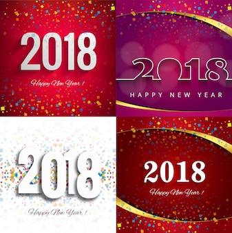Ensemble de fond moderne nouvel an 2018
