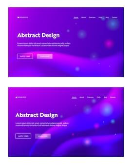 Ensemble de fond de page de destination pourpre abstrait futuriste sparkle. motif de dégradé de mouvement numérique dynamique.