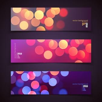 Ensemble de fond panoramique abstrait réaliste avec des lumières de bokeh coloré défocalisé flou