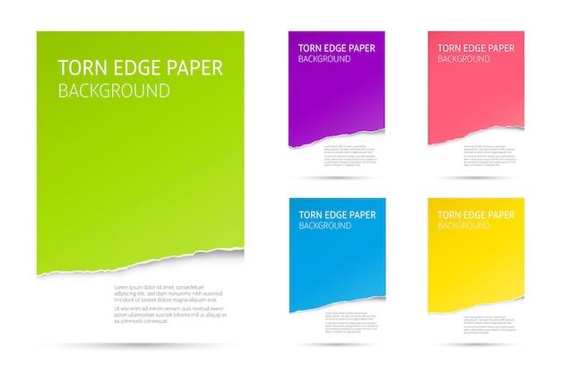 Ensemble de fond de papier de bord déchiré. modèles vectoriels colorés.