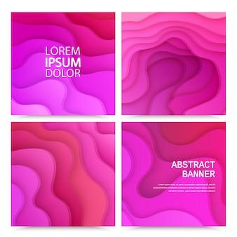 Ensemble de fond de papier découpé abstrait 3d de couches de vagues roses brochure de conception de mise en page lumineuse