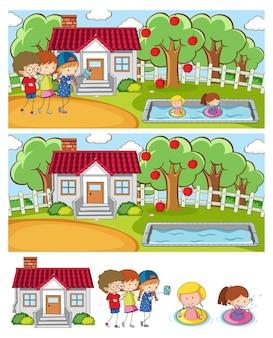 Ensemble de fond de scènes horizontales différentes avec personnage de dessin animé pour enfants doodle