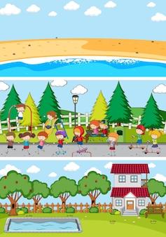 Ensemble De Fond De Scènes Horizontales Différentes Avec Personnage De Dessin Animé Pour Enfants Doodle Vecteur Premium