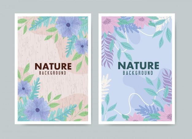 Ensemble de fond tropical et fleurs avec des feuilles de couleur pastel