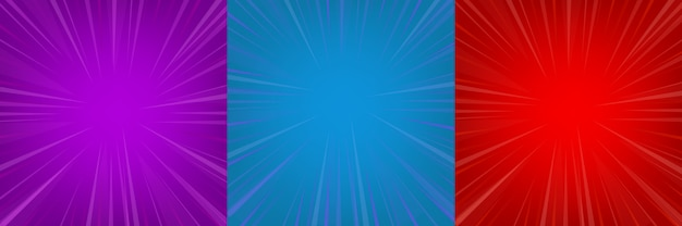 Ensemble de fond vide de bande dessinée zoom rouge, bleu, violet