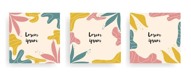 Ensemble de fond vintage floral carré avec modèle de titre