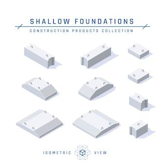 Ensemble de fondations en béton, vue isométrique dans un style plat.