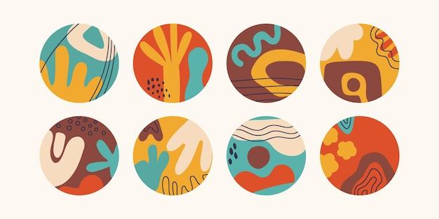 Ensemble de fonds abstraits ronds. griffonnages à la mode dessinés à la main. illustration vectorielle pour la conception.