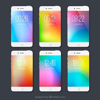 Ensemble de fonds d'écran mobiles colorés sans faille