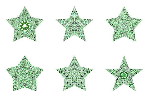 Ensemble de forme d'étoile mosaïque florale abstraite géométrique