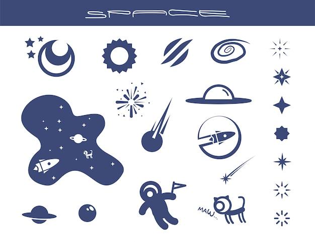 Ensemble de forme d'objets illustrés espace plat