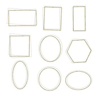 Ensemble de forme simple de cadres dorés avec texture de paillettes