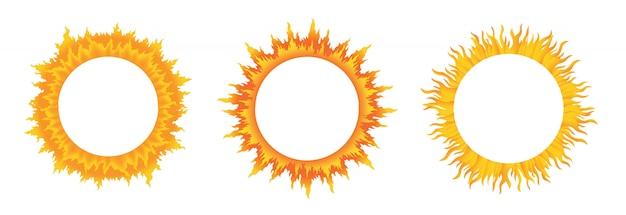 Ensemble de formes abstraites de soleil jaune isolé sur blanc