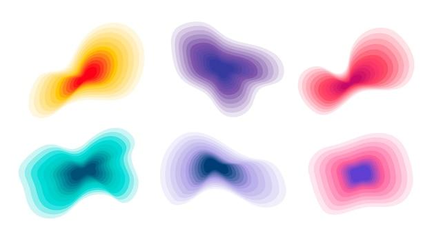 Ensemble de formes abstraites topographiques dégradées