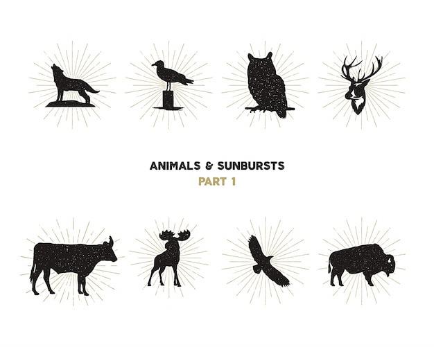 Ensemble de formes d'animaux sauvages. animaux de la silhouette