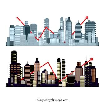 Ensemble de formes de bâtiments