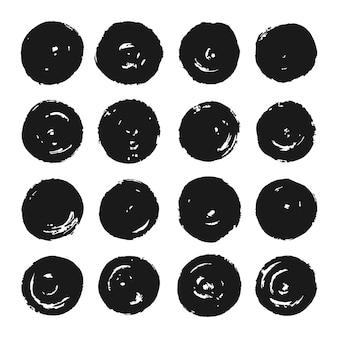 Ensemble de formes de cercles de grunge noir, grunge circle collection, coups de pinceau circulaire