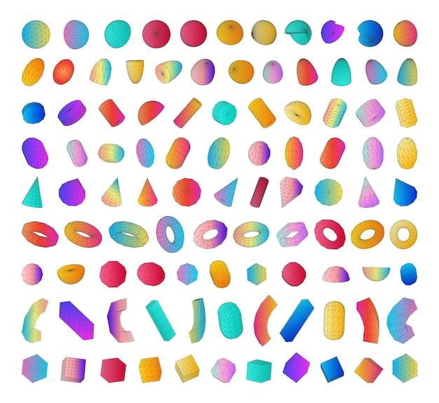 Ensemble de formes colorées 3d